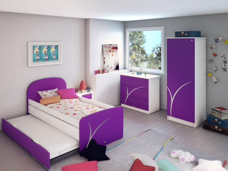 chambre fille vert et mauve pr l vement d. Black Bedroom Furniture Sets. Home Design Ideas